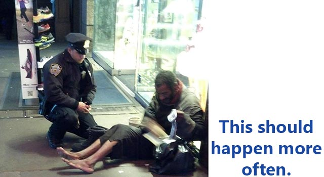 NYPD Officer Gives A Homeless Man Shoes