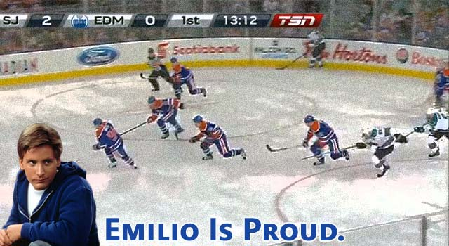 The Edmonton Oilers Use The Flying V From Mighty Ducks