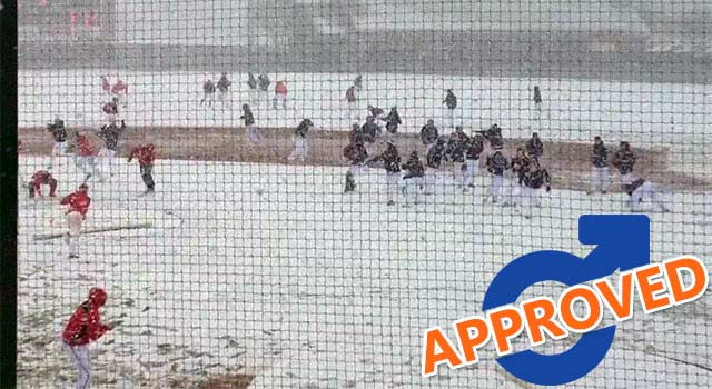Snowball Fight Breaks Out At College Baseball Game