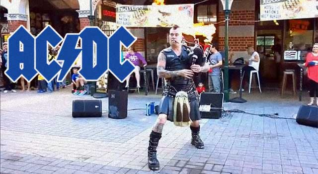 Street Performer Plays AC/DC On Flaming Bagpipes