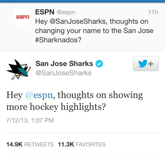 The San Jose Sharks take a bite out of ESPN