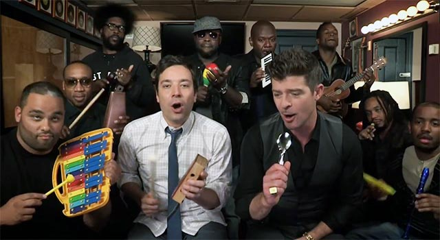 Fallon & Thicke Sing Blurred Lines With Classroom Instruments