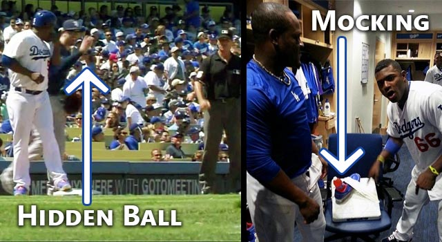 The Dodgers Juan Uribe Falls For The Hidden Ball Trick