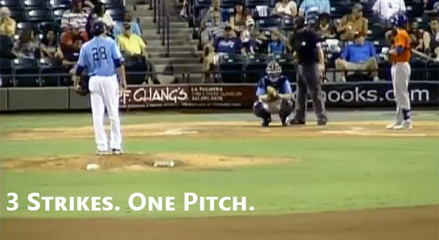 Minor Leaguer Vinnie Catricala Strikes Out On One Pitch
