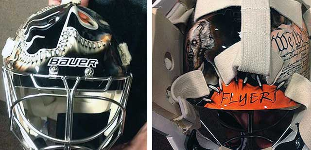 Zombie Betsy Ross Stitching A Flyers Logo On Goalie Mask