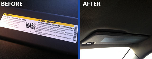 Air Bag Warning Cover Before and After