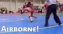 High School Wrestler Is Awesome (Flying Squirrel Move)